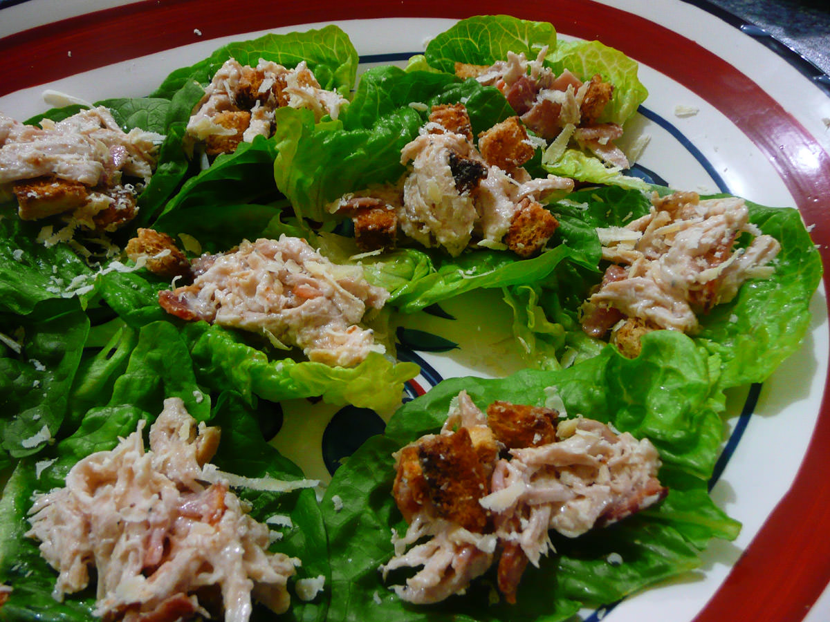 Chicken caesar lettuce wraps