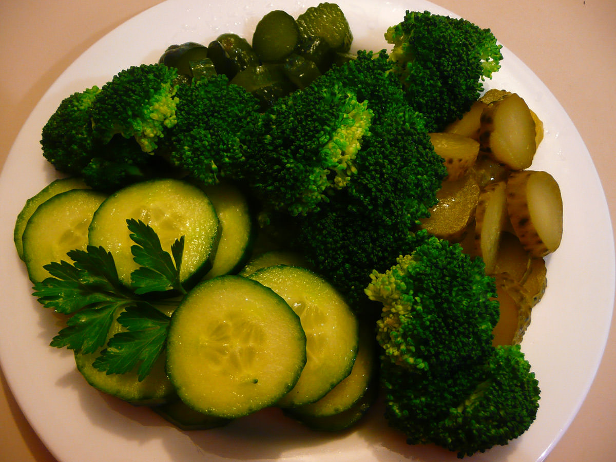 Green plate - vegetables and pickles