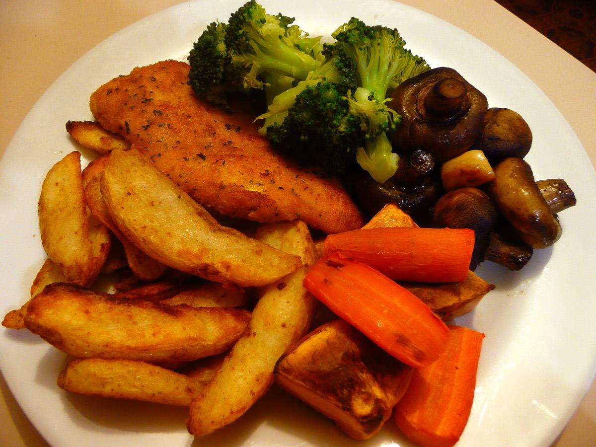 Chicken schnitzel, oven baked potato wedges, carrots, broccoli and garlic mushrooms