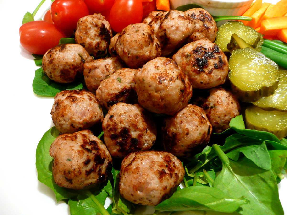 Mini pork meatballs close-up