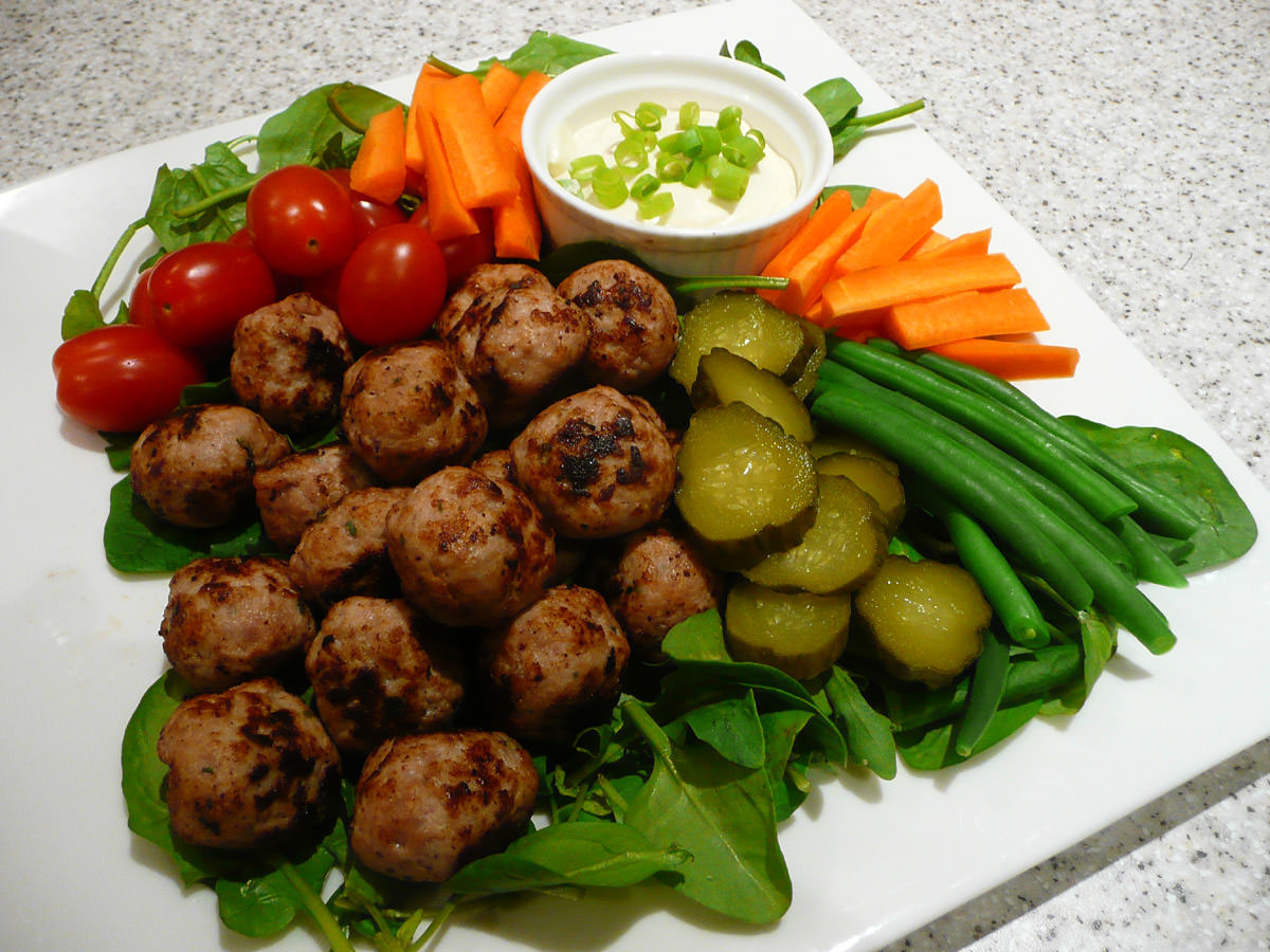 Mini pork meatballs, vegetables, pickles and aioli
