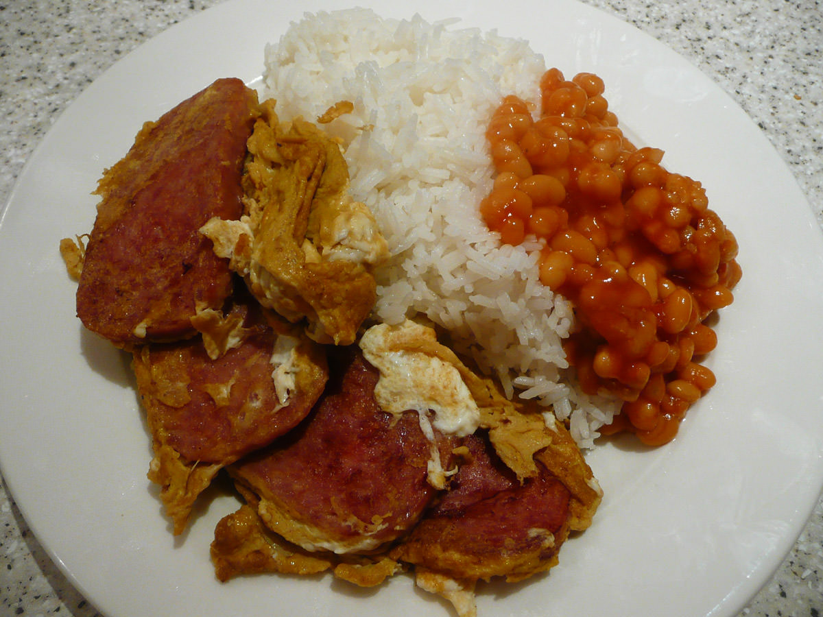 SPAM and egg, baked beans and rice