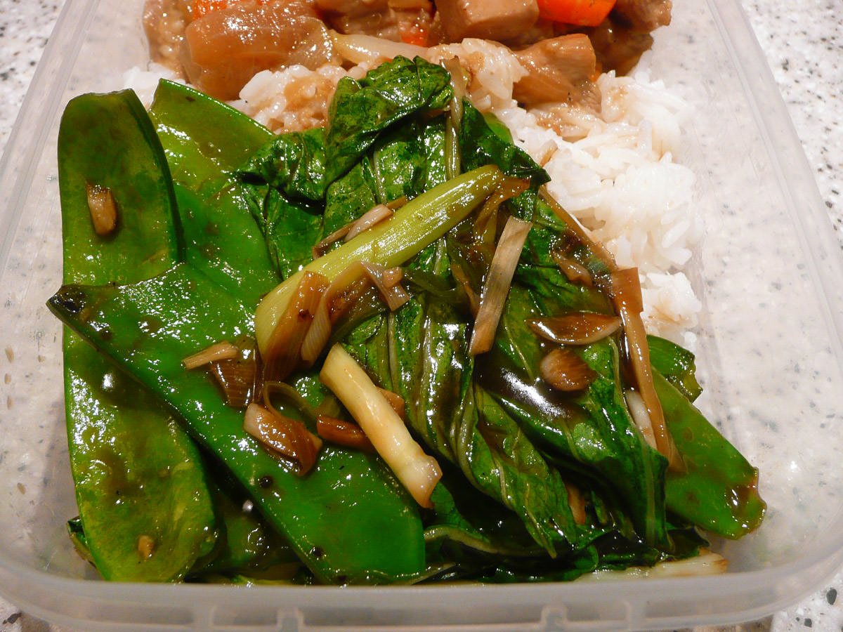 Oyster sauce greens close-up