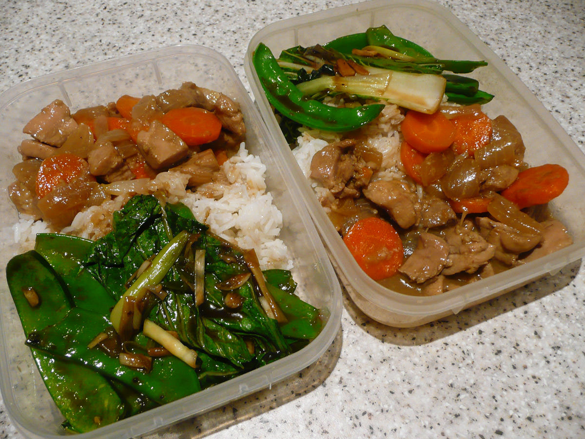 Bento lunches for two - ginger chicken, oyster sauce greens and rice