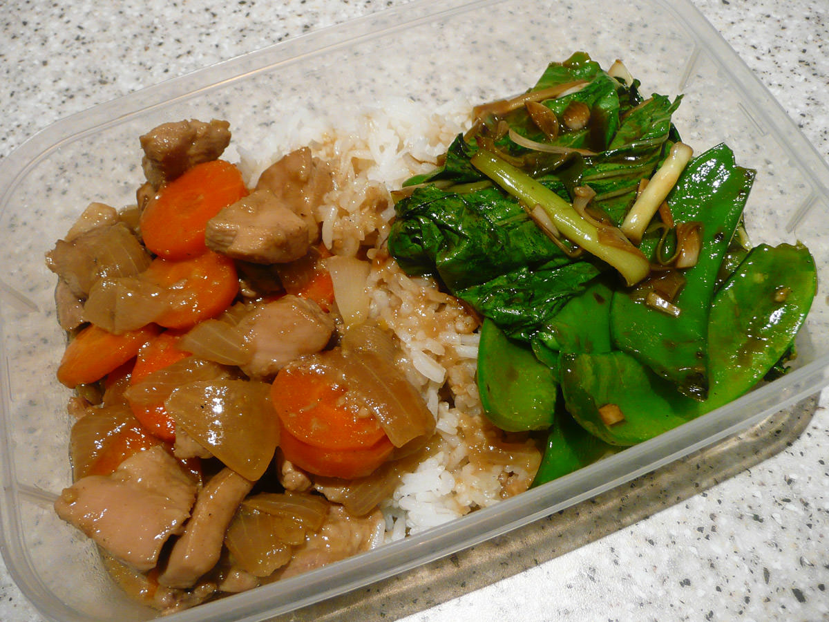 Ginger chicken, oyster sauce greens and rice