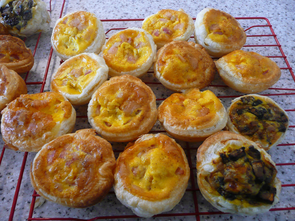 Bacon and egg pies, mushroom and caramelised onion pies
