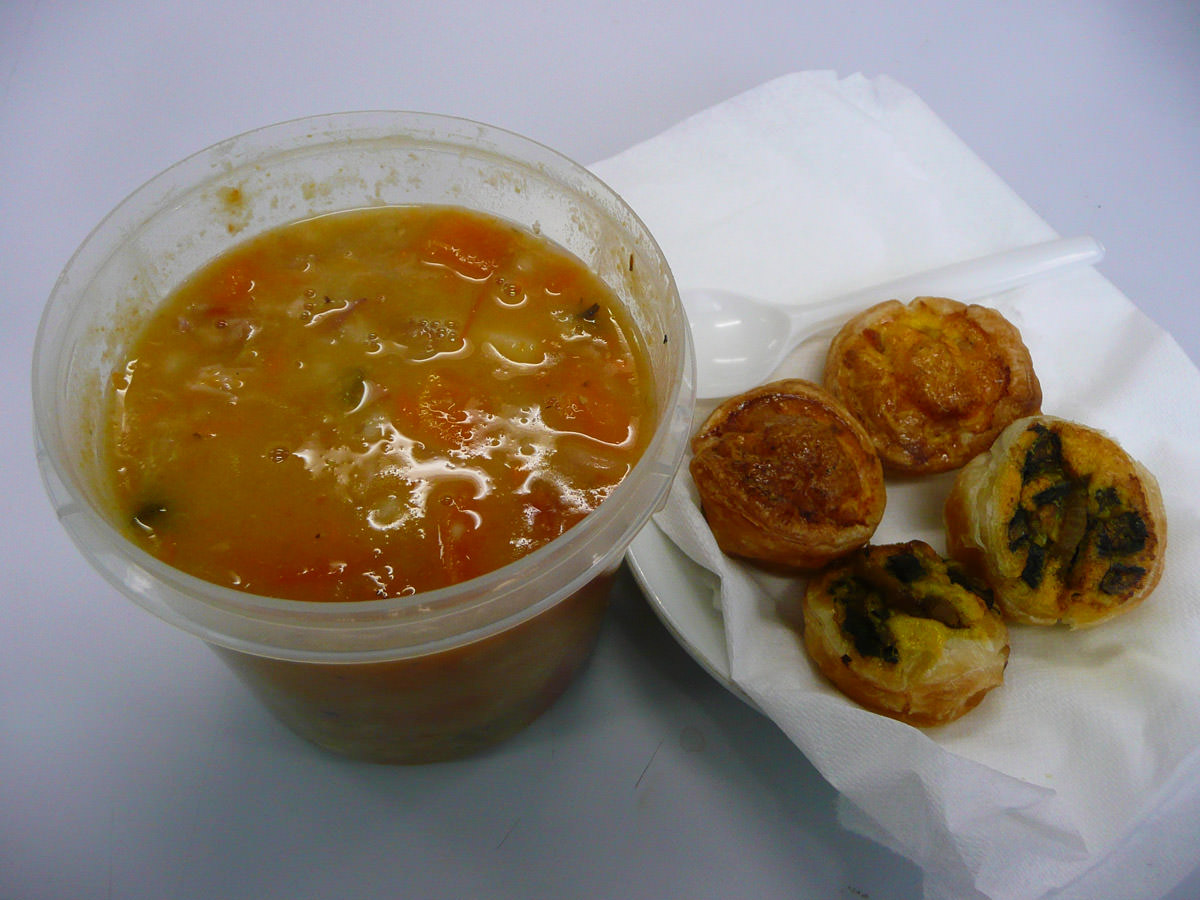 Soup and mini pies for lunch