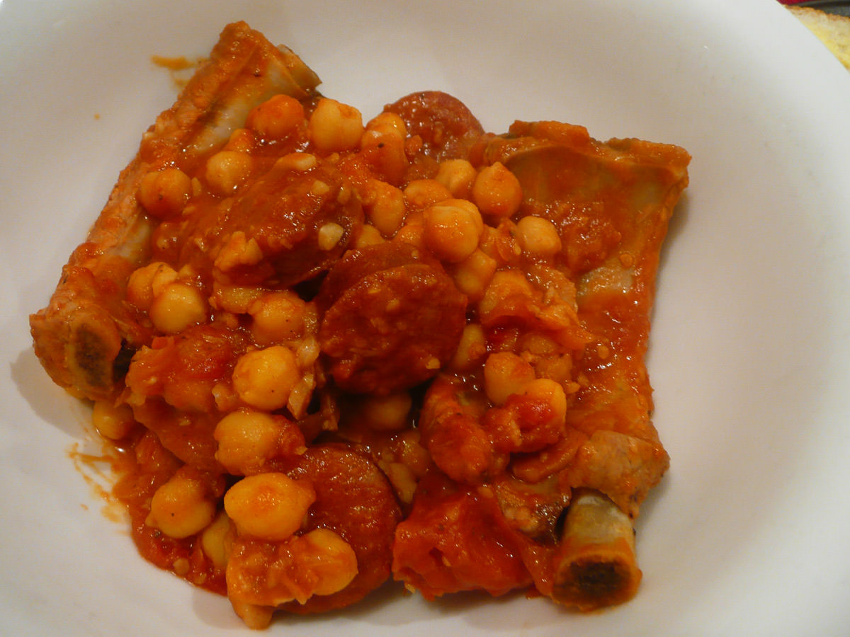 My bowl - pork ribs, chorizo in tomato, chick peas and bacon