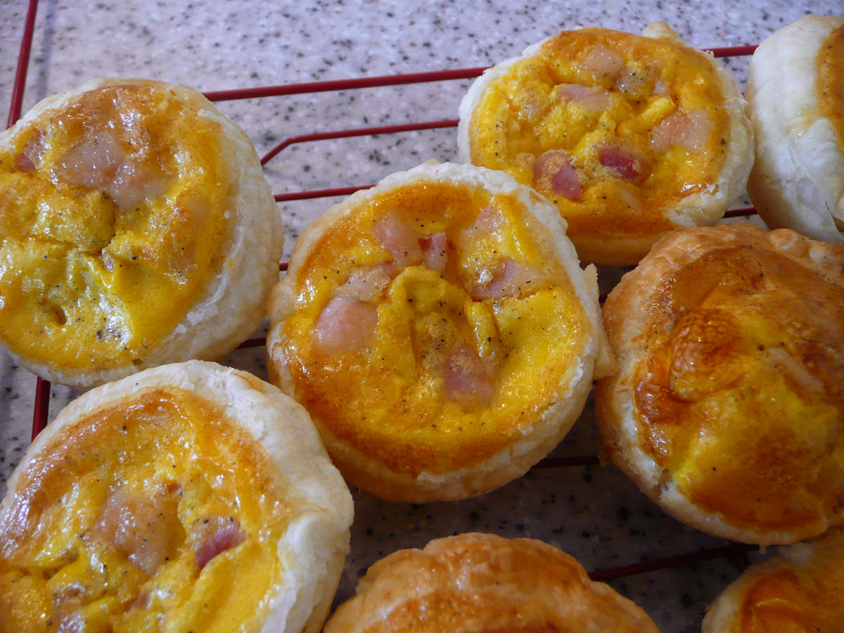 Bacon and egg pies close-up
