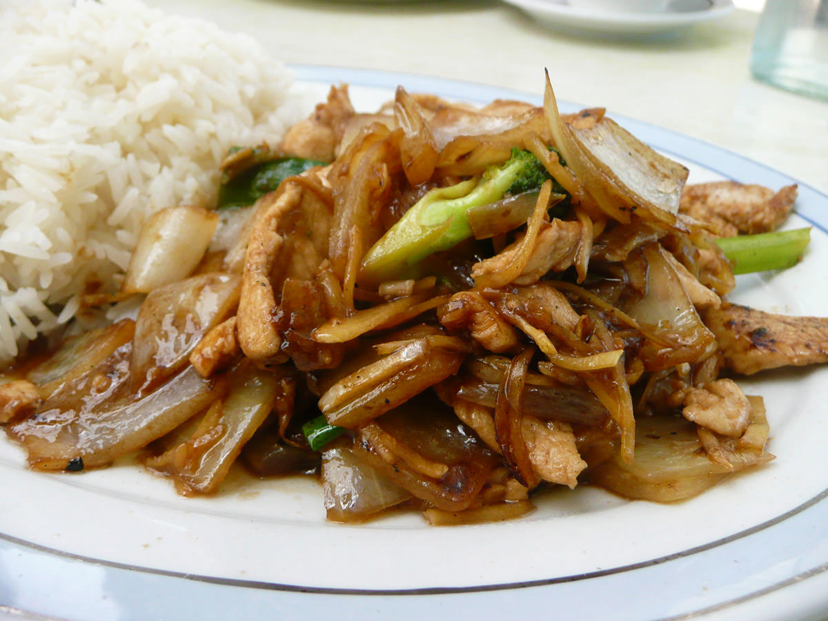 Ginger chicken and rice close-up
