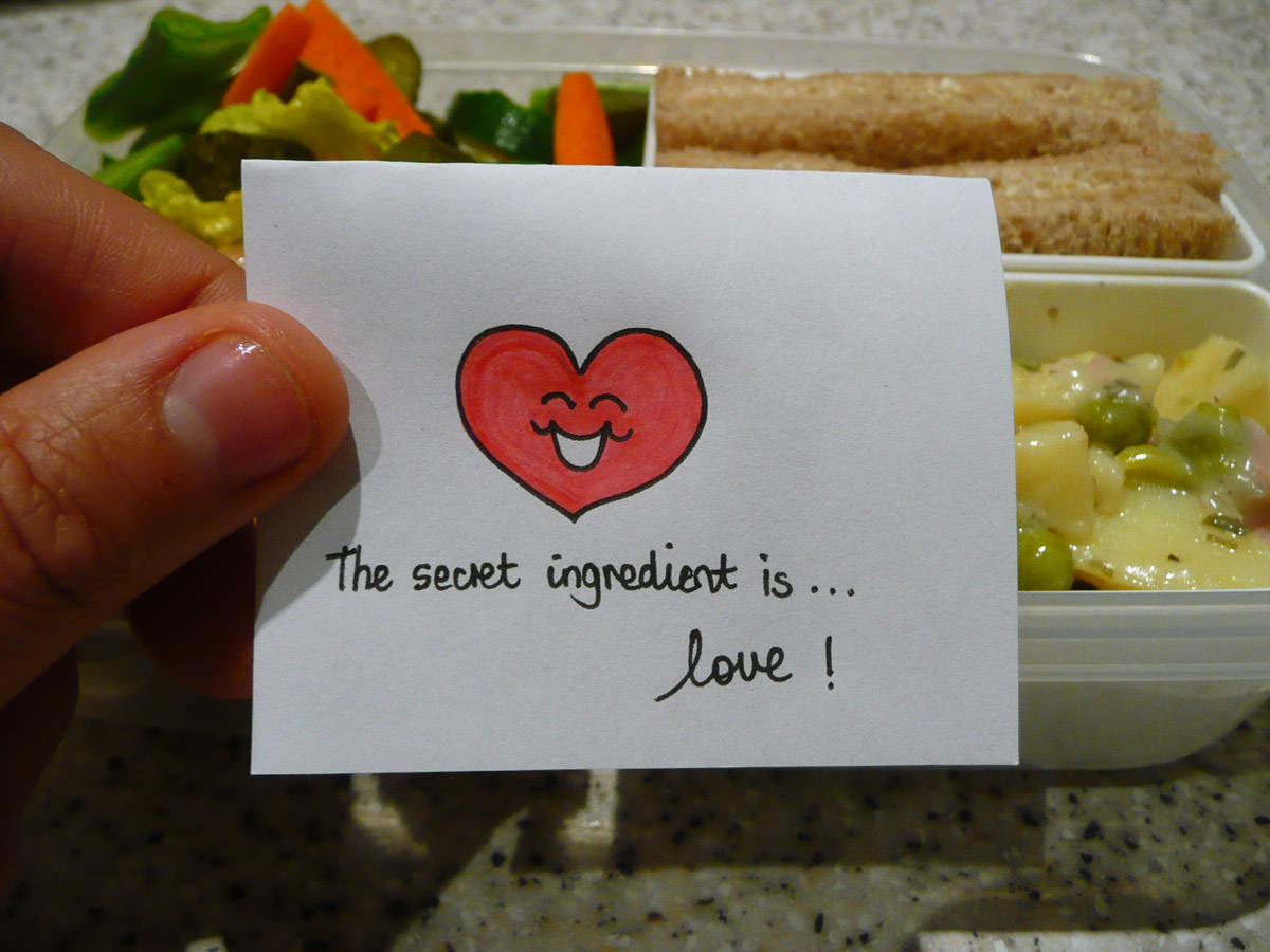 Bento note for Jac - The secret ingredient is... love!