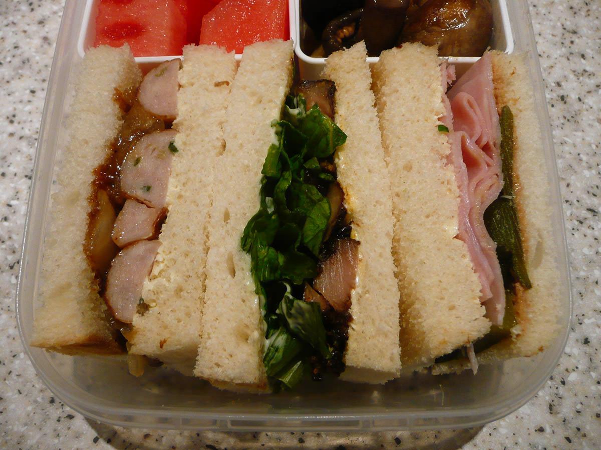 Bento sandwiches close-up