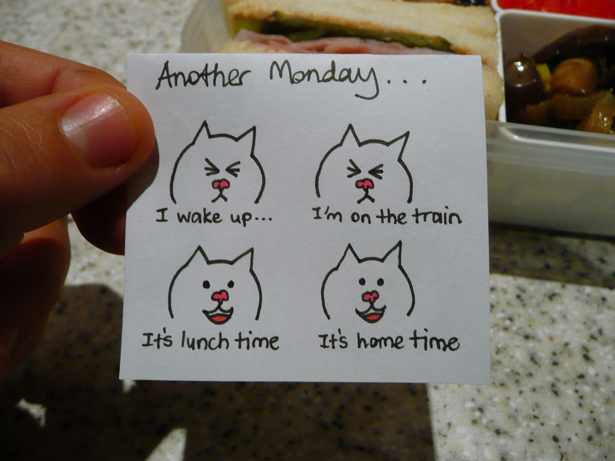 Bento note for Jac - It's Monday... frown, frown, smile, smile