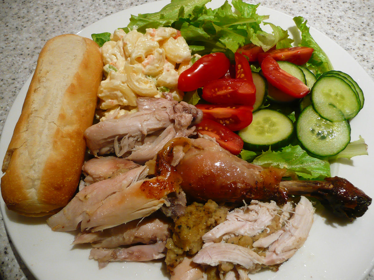 Dinner - barbecue chicken, salad and bread