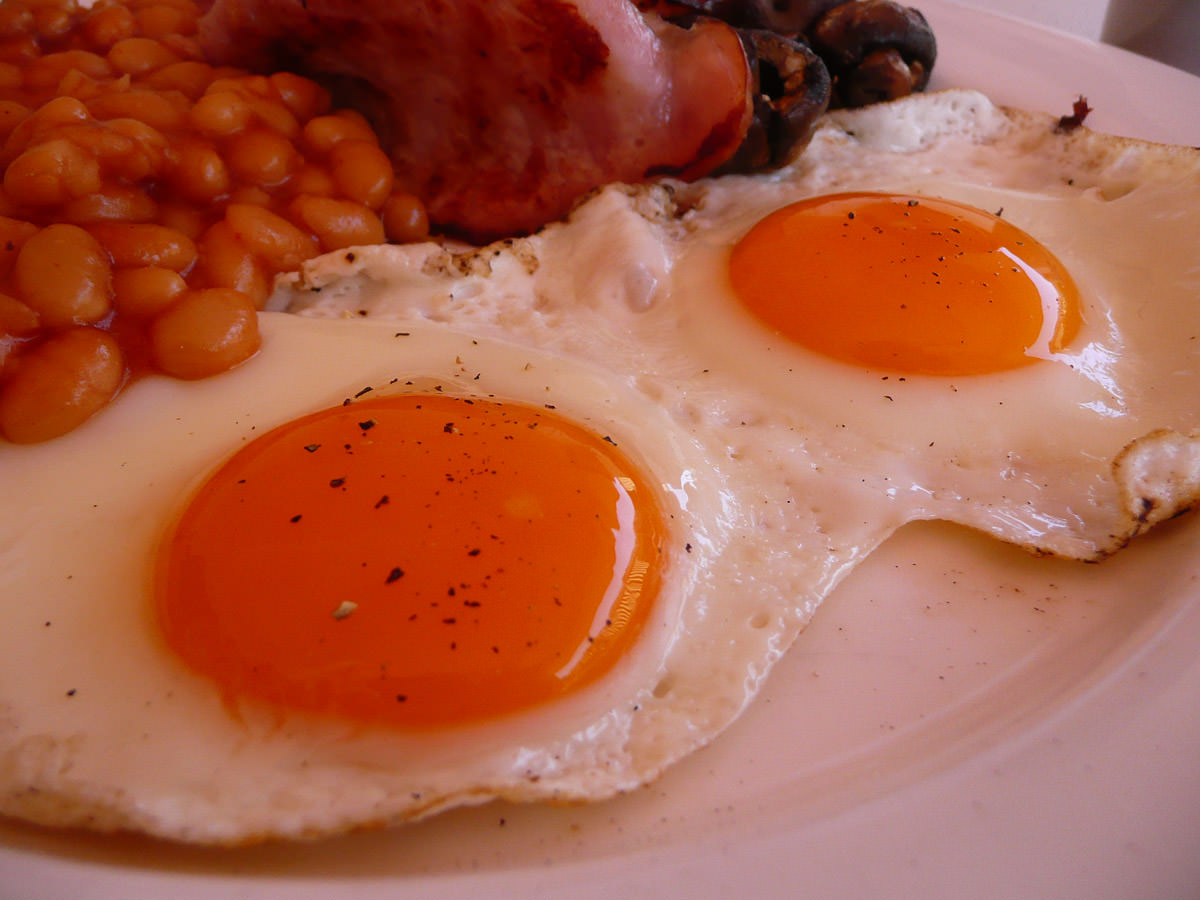 Fried eggs close-up