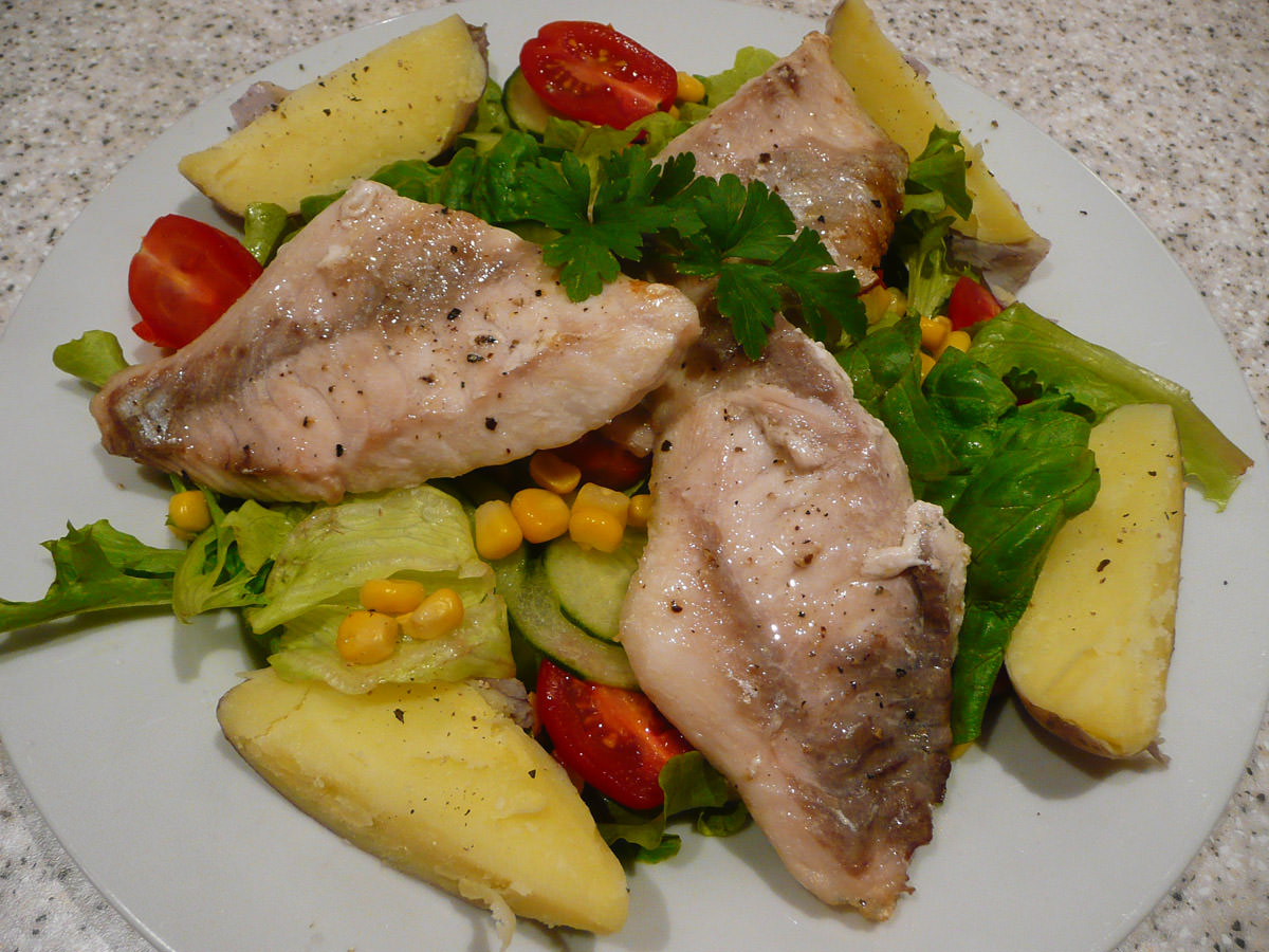 Grilled snapper, potatoes and salad