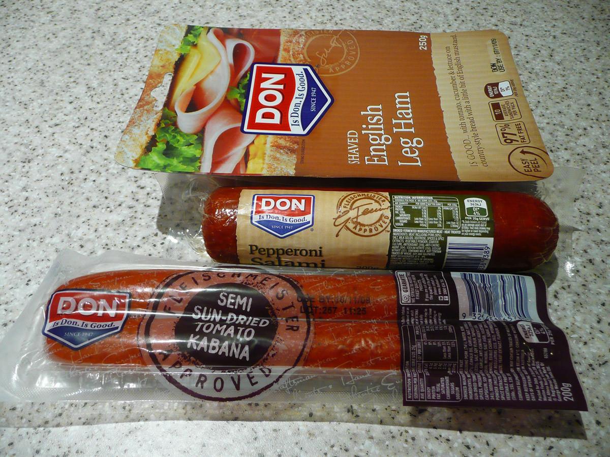 Three Don products -  English leg ham, pepperoni salami and semi sun-dried tomato kabana