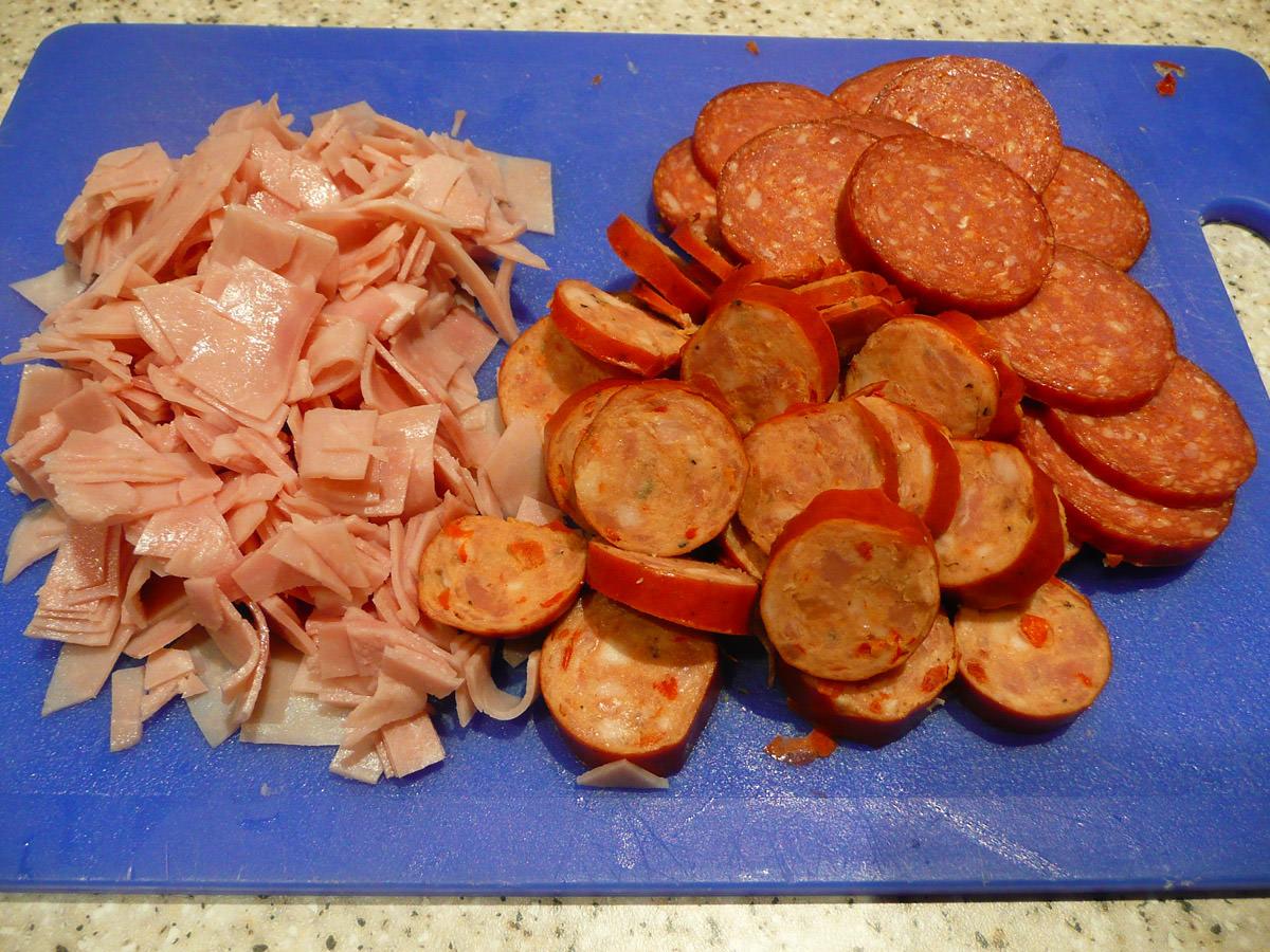 English ham, kabana and pepperoni