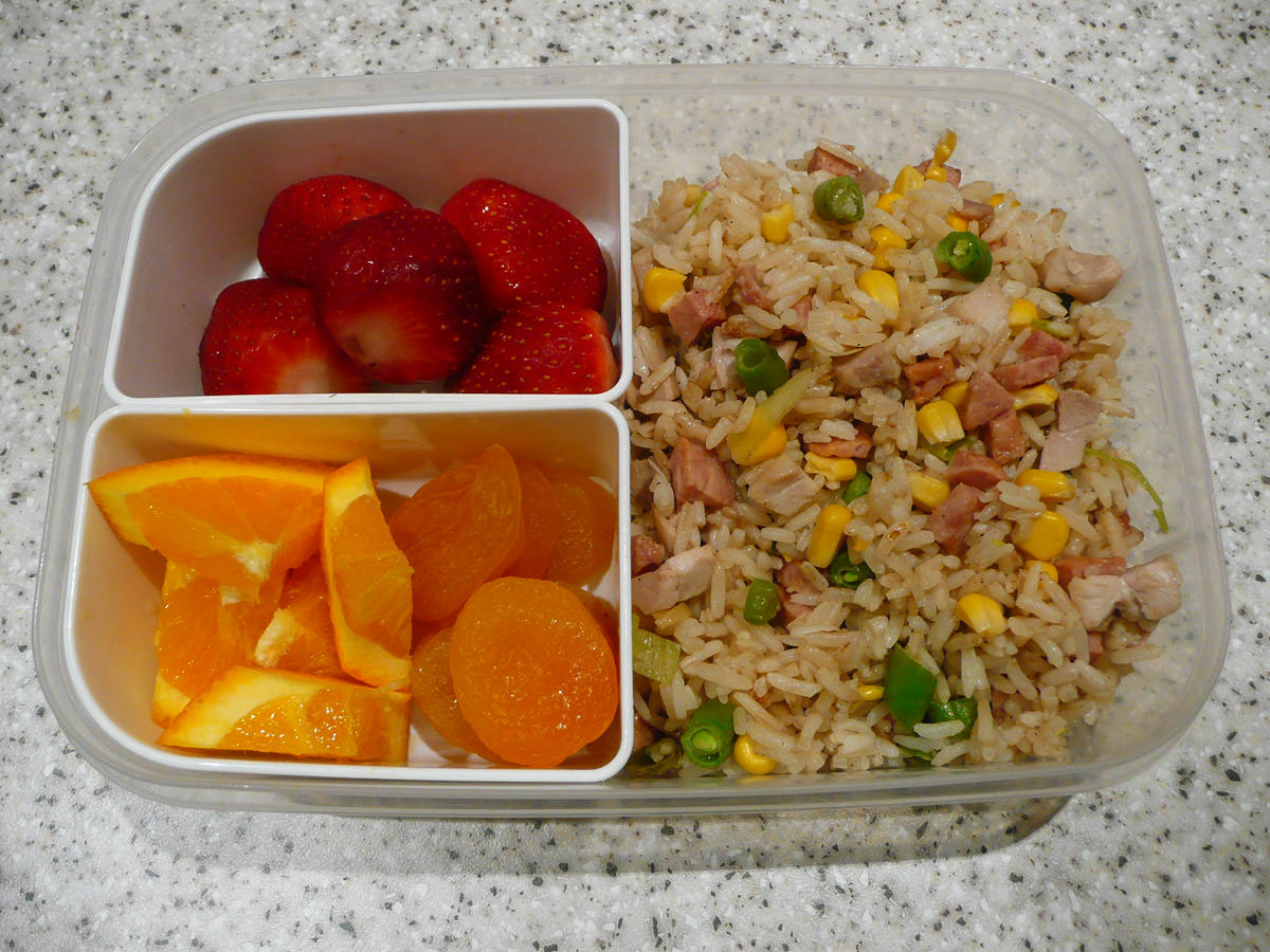 Bento lunch - fried rice and fruit