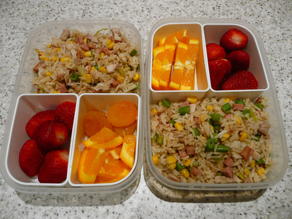 Bento lunches - fried rice and fruit