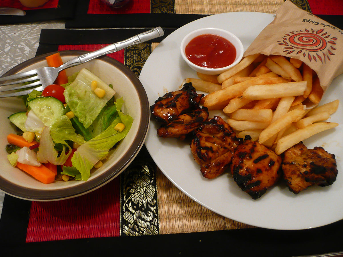 My chicken, chips and salad