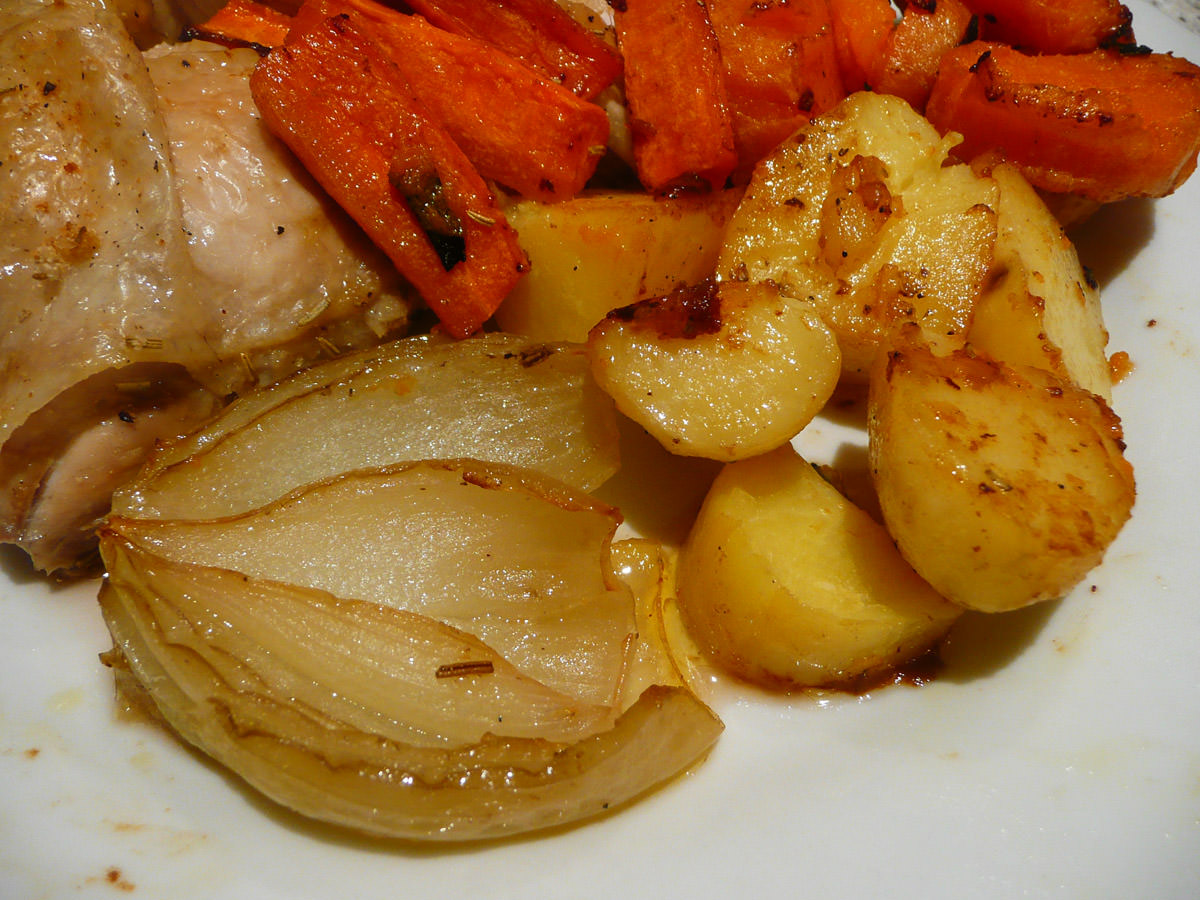 Roasted onion and potatoes