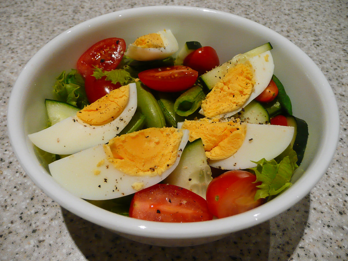 Salad with  hard-boiled egg