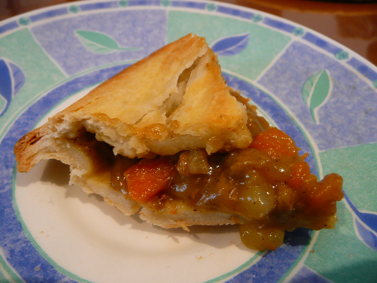 A slice of curry pie