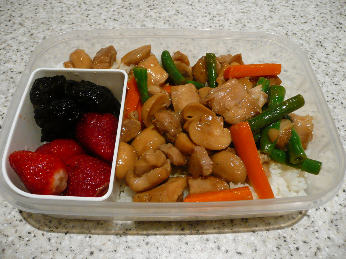 Bento - ginger chicken and vegetable stir-fry and rice, strawberries and prunes