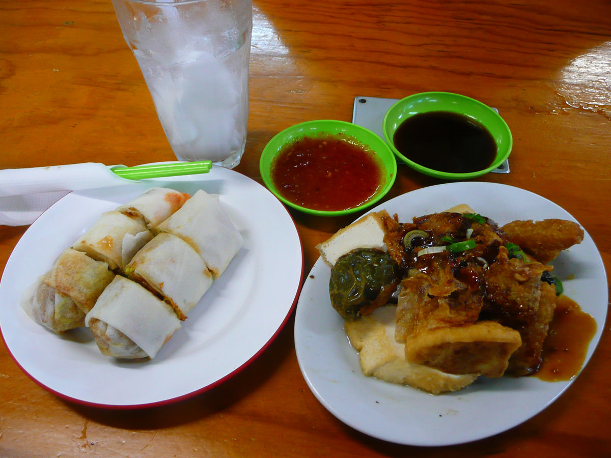 Popiah and yong tow foo and coconut juice