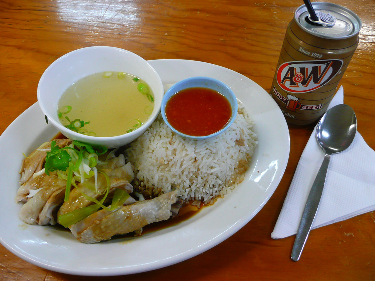 Hainan chicken rice and A&W Root Beer