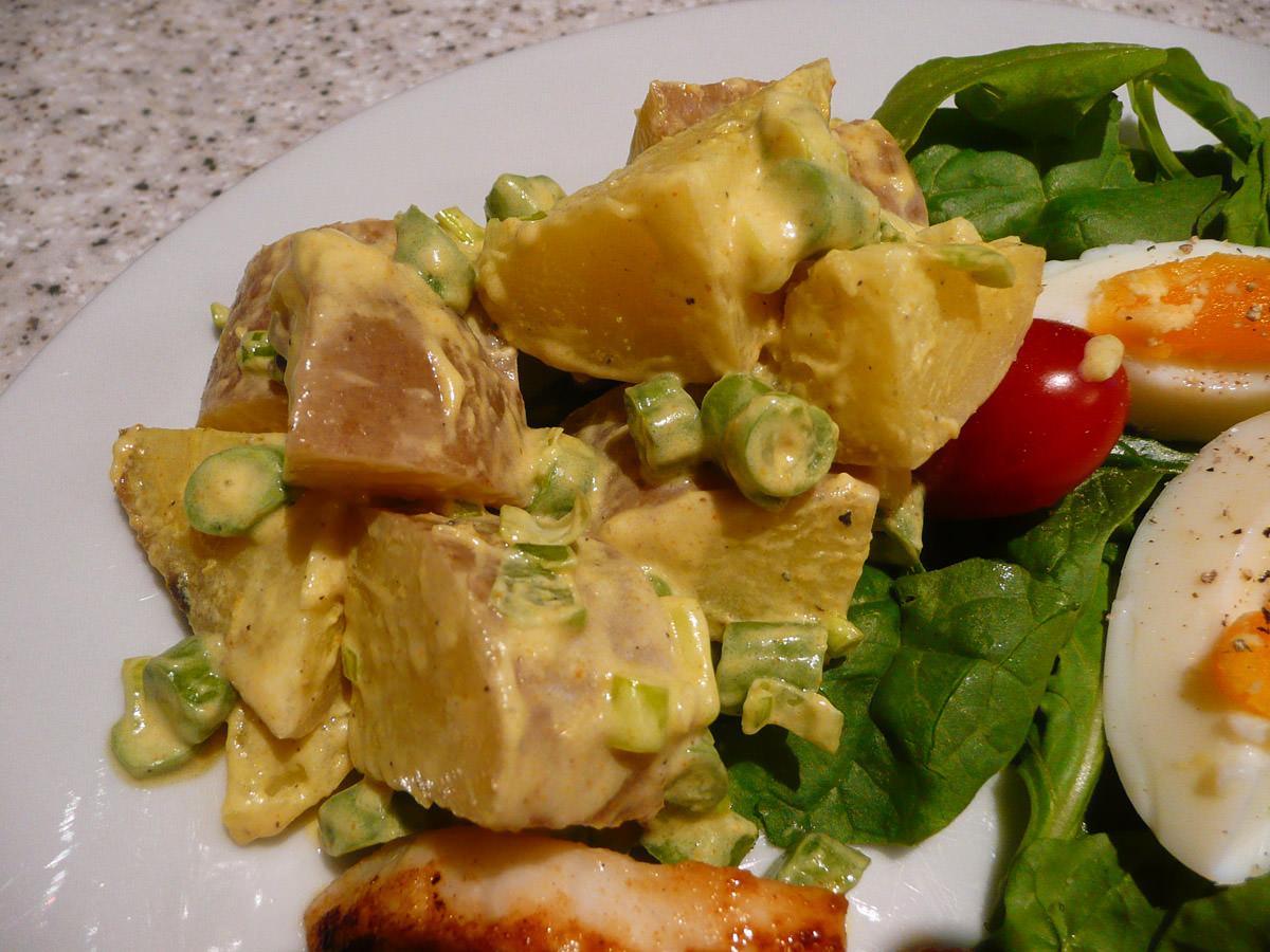 Curried potato salad close-up