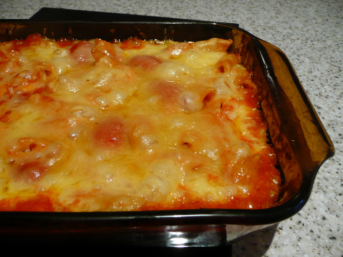 The cheesy end of the pasta bake