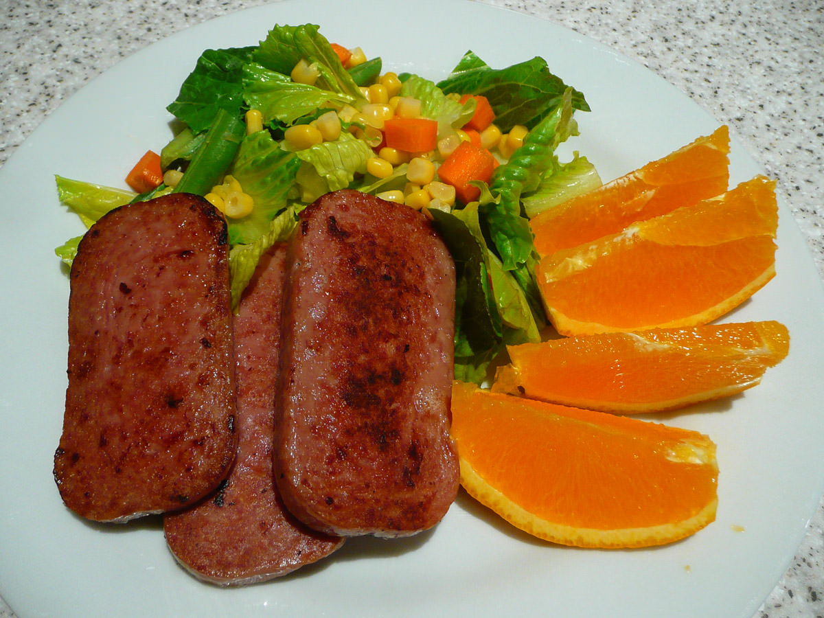 SPAM, salad and orange wedges