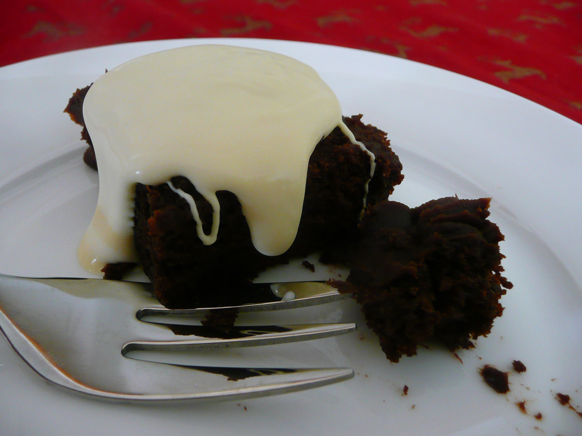 Christmas chocolate cake with brandy cream - I only had half a piece