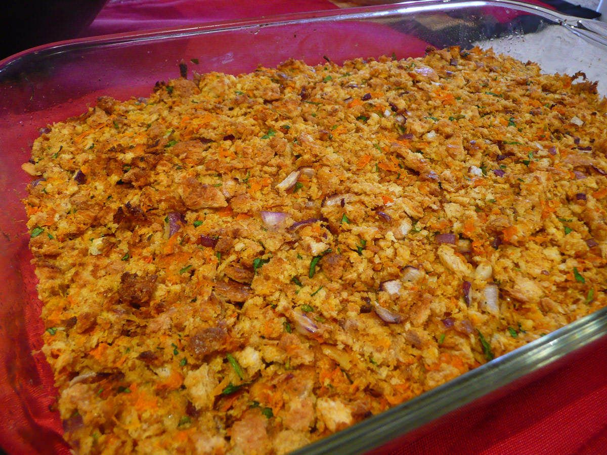 Ange's special baked stuffing