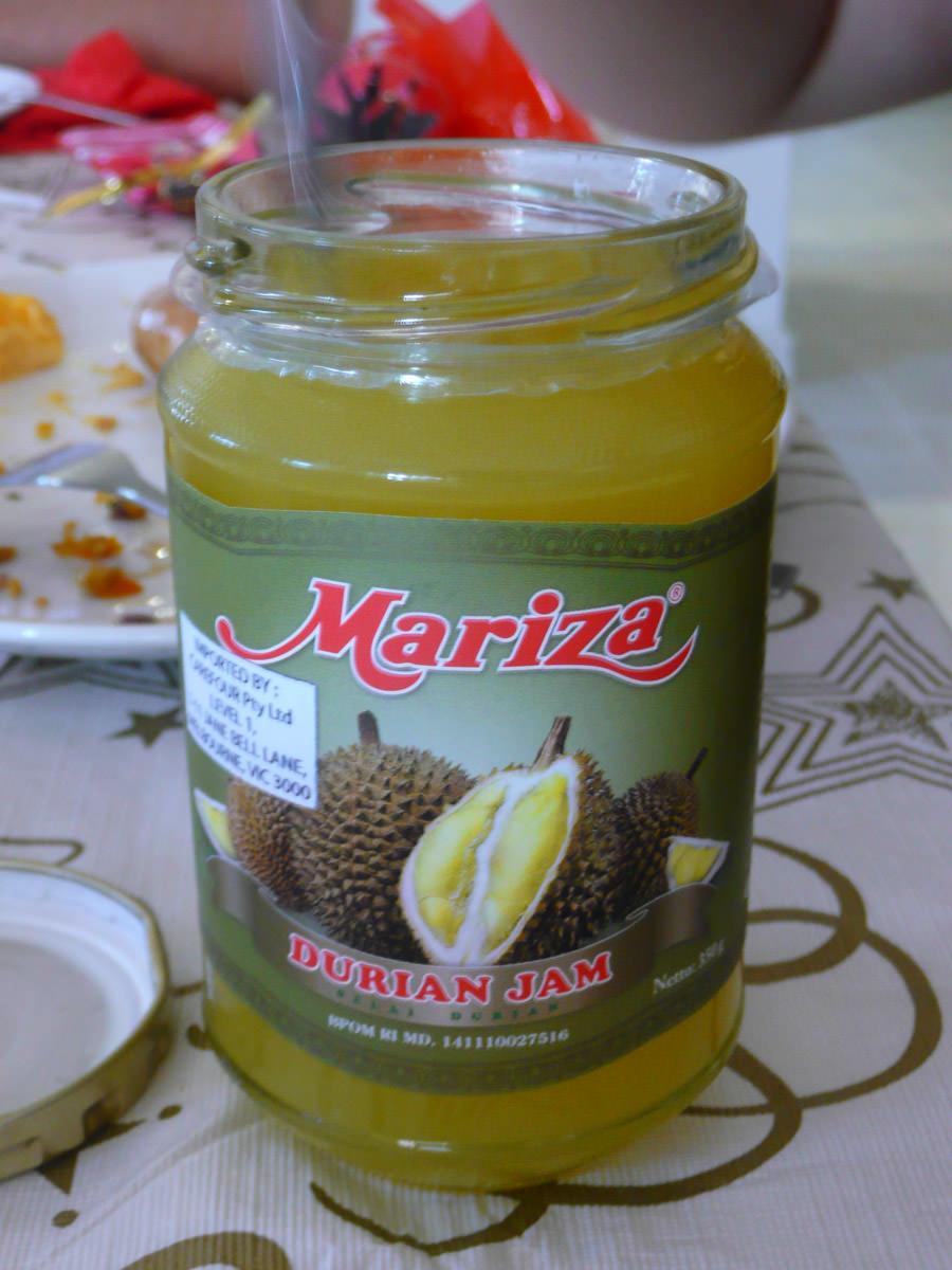 Durian jam, eaten with Dutch mini pancakes!