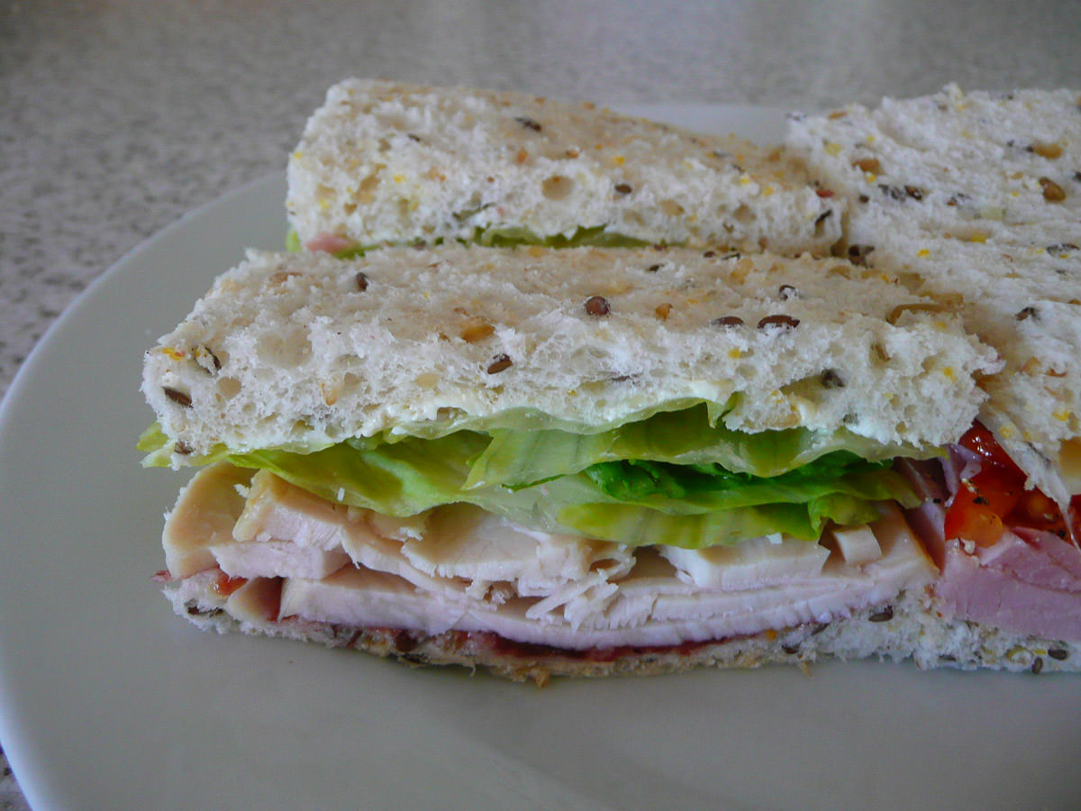 Turkey, lettuce and cranberry sandwich