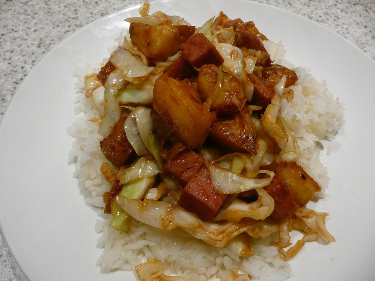 SPAM, potato and cabbage stir-fry with oyster sauce and garlic - on the plate