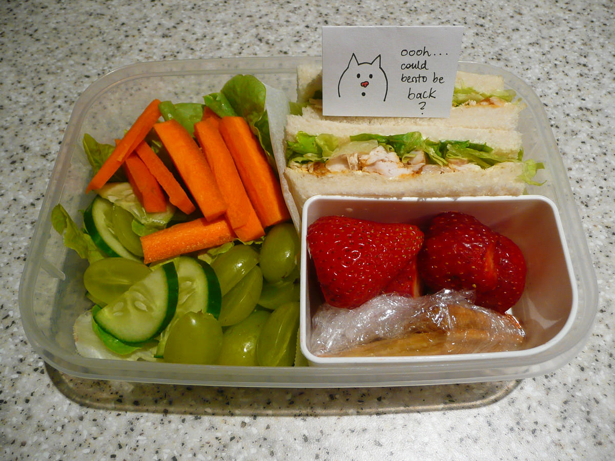Jac's bento lunch - Thai red curry chicken sandwiches, salad, strawberries and sweet crackers