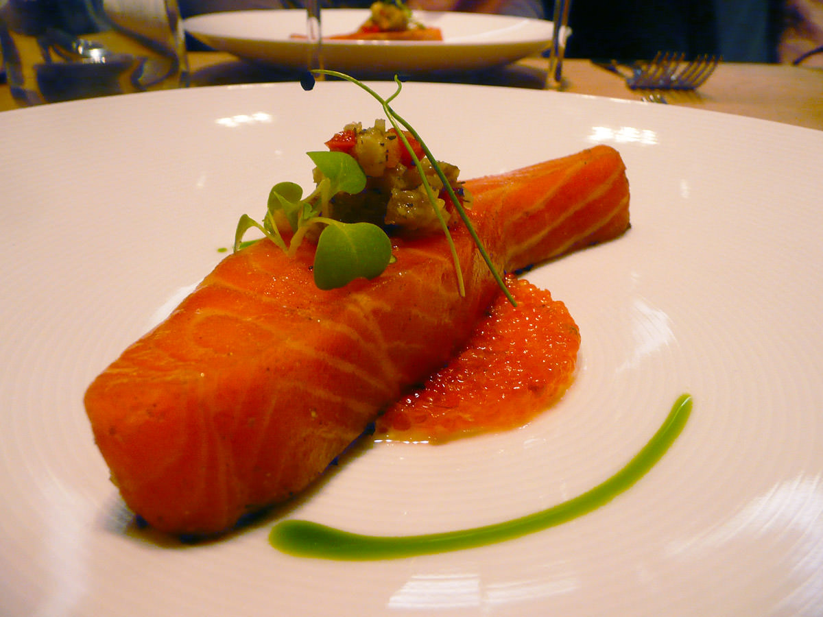 Tetsuya's signature dish - salad of confit ocean trout with zucchini and non-pasteurised roe