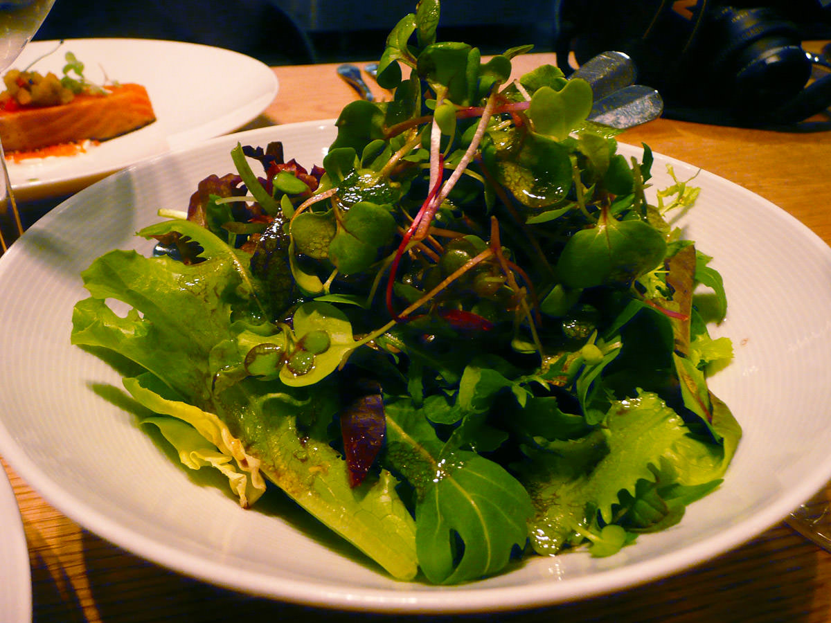 Green salad, served with the confit trout