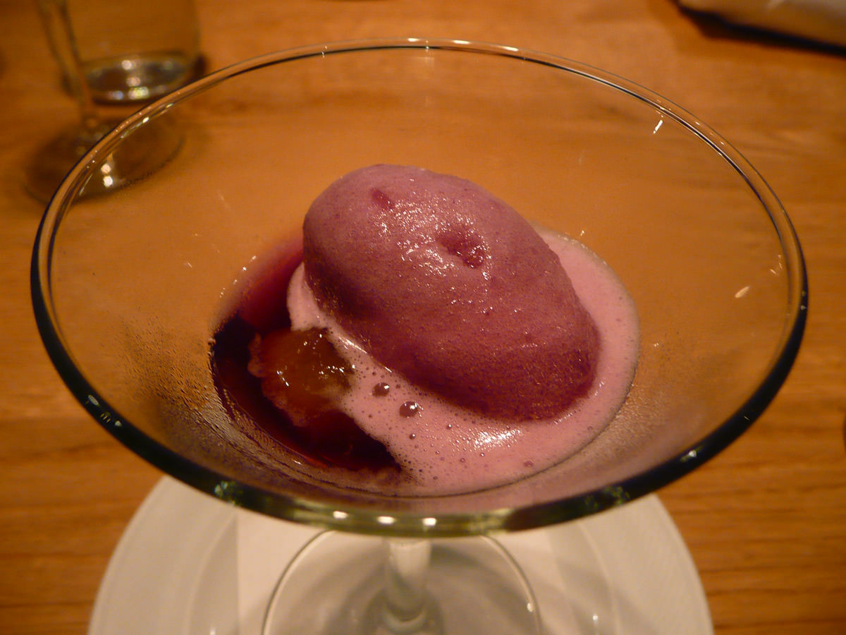 Pione grape sorbet with sauternes jelly