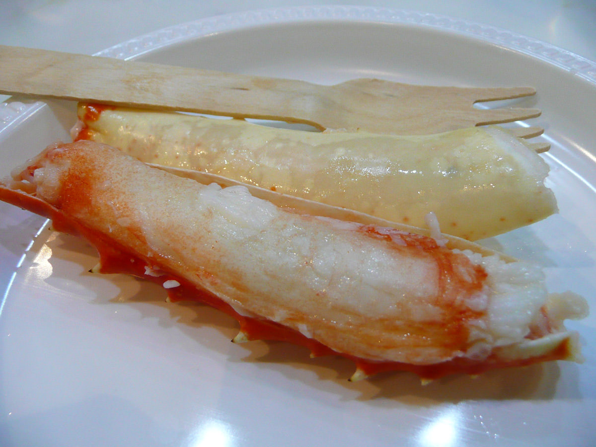 Alaskan crab leg, ready to eat