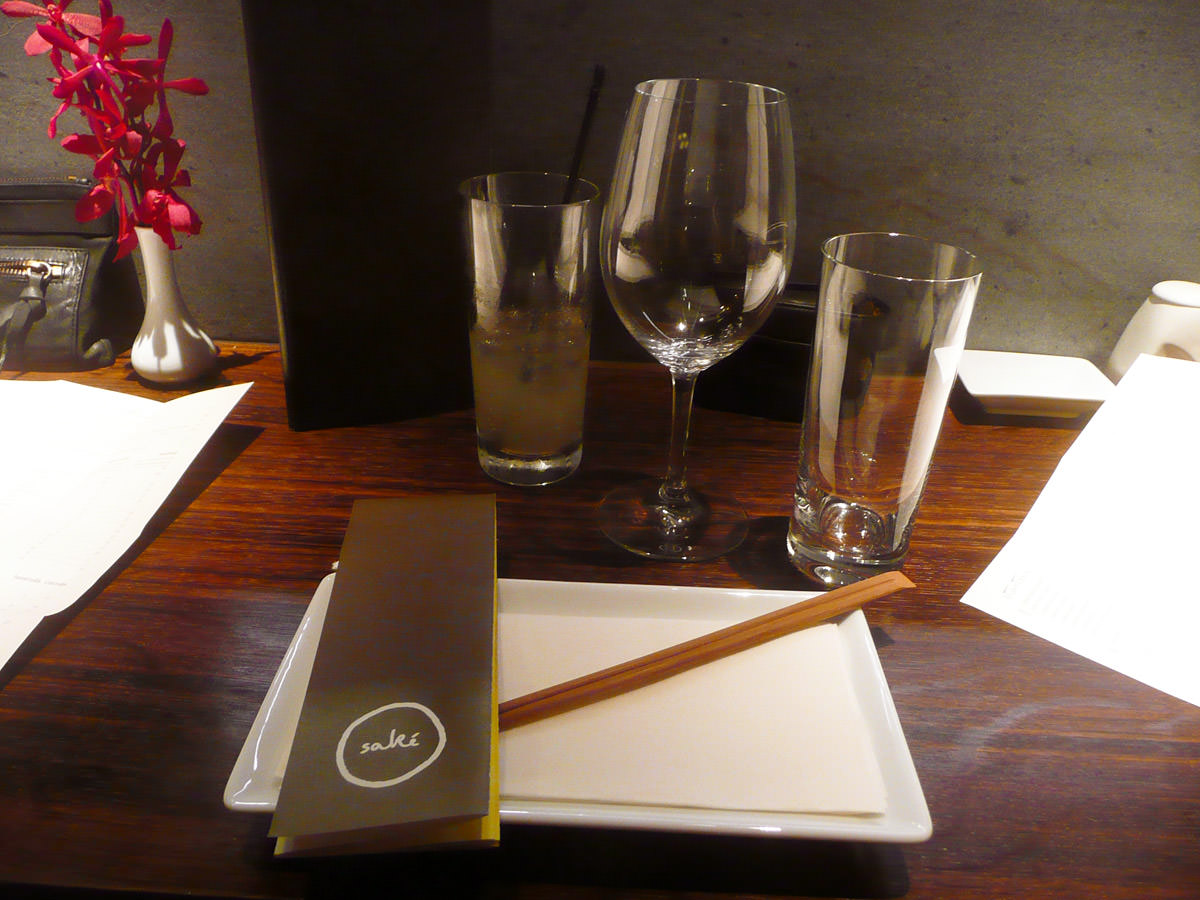 My place setting at the counter, Sake Restaurant
