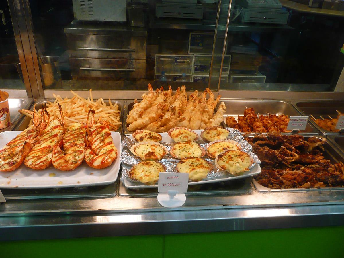 Fried and au gratin seafood