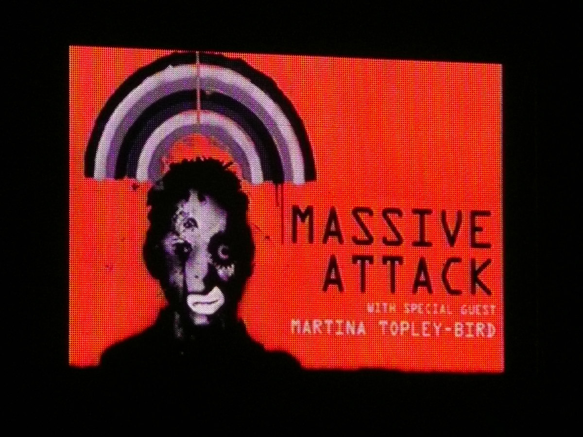 Massive Attack concert in Kings Park, Perth - Heligoland image on big screen