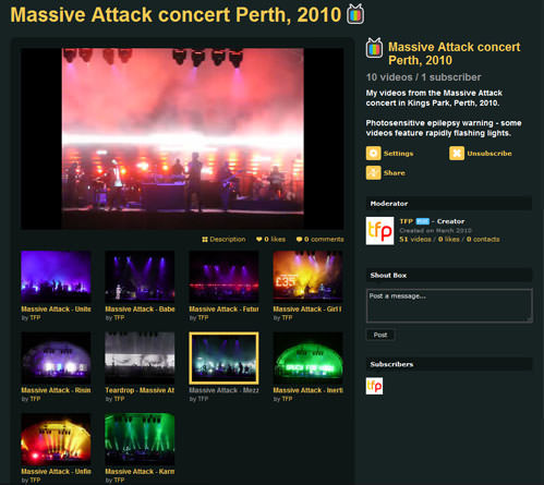 See my concert videos at my Massive Attack channel at Vimeo