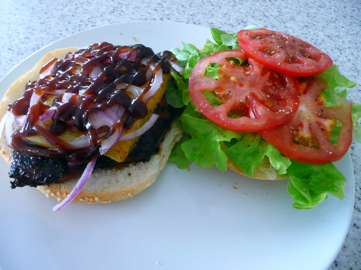 Two halves of Jac's steak burger