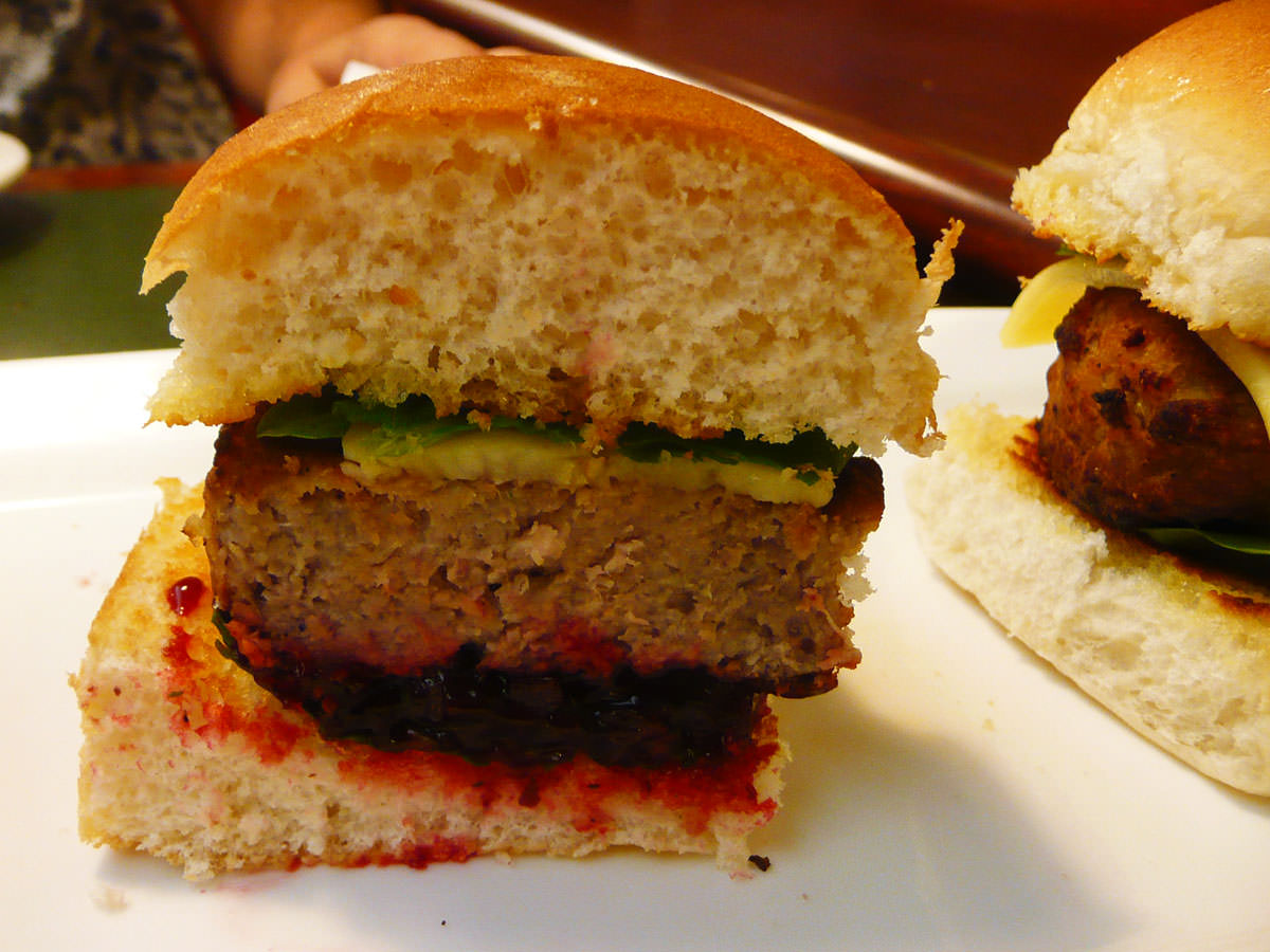 Slider with beetroot relish